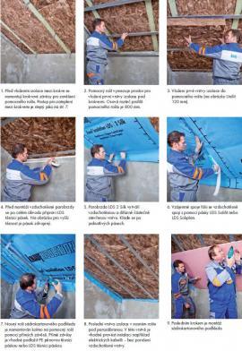 Postup při zateplování šikmé střechy s izolací mezi a pod krokvemi se vzduchotěsnou a parotěsnou vrstvou mezi vrstvami tepelné izolace