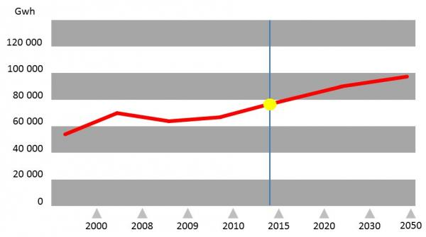 Graf spotřeby elektrické energie vČeské republice
