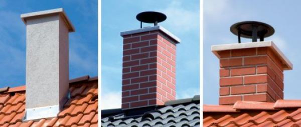 Řešení nadstřešní části komínu