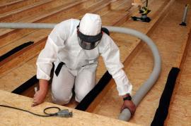 Obrázek ukazuje zateplení podlahy Climatizerem Plus u nové dřevostavby