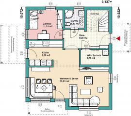 Půdorys prvního nadzemního podlaží domu Comfort 155