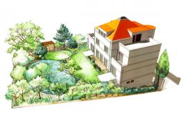 Návrh zahrady rodinného domu v Praze 6