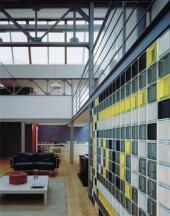 Stěna z luxfer v interiéru, tvárnice Q 19 T met. série MENDINI, rozměr 190x190x80 mm