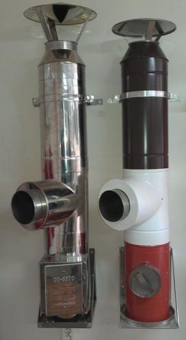 Nerezový a kovový komín s povrchovou úpravou vnějšího opláštění
