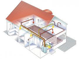 Schéma tepelného čerpadla vzduch-voda s rekuperací