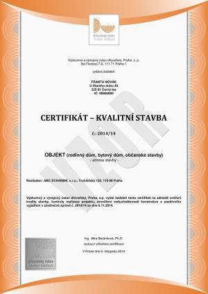 Certifikát Kvalitní stavba