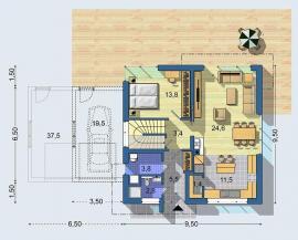 Typový dům OPTIMAL 1439, půdorys 1. NP