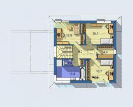 Typový dům OPTIMAL 1439, půdorys 2. NP