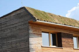 Výhoda zelené střechy se projevuje zejména v letních měsících, kdy vegetační souvrství zamezuje ohřívání konstrukce od  slunce.