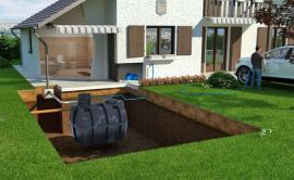 Schéma usazení nádrže na dešťovou vodu