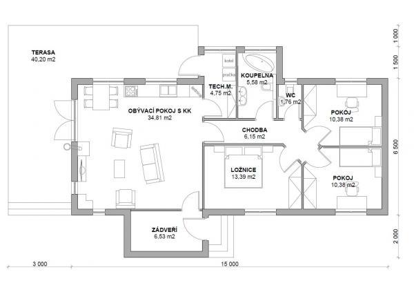 Půdorys typového domu JANA 1