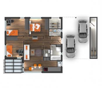 Půdorys typového bungalovu Rouge (garáž a automobilové stání jsou nadstandardem)