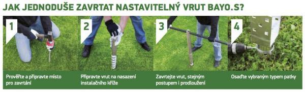 Montáž nastavitelných zemních vrutů