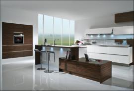 Luxusní kuchyně 5090 GL, makasarský eben, dýha/designové sklo bílé