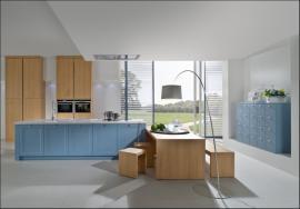 Rustikální kuchyně 5007/6022, modrá achátová/dub přírodní
