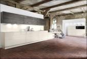 Luxusní kuchyně AV 5025/AV 5080, magnolie, vysoce lesklý lak/borovice námořní, dýha