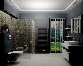 2. Místo / cena: Eva Domenici, AQUASTYL International s.r.o., Kladno, koupelna sdesignovým radiátorem Zehnder Subway, Anthracite