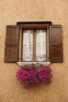Dřevěné okenice a truhlík s muškáty
