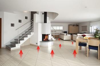 Princip podlahového topení, teplo je sáláno od podlahy, resp. podlahou