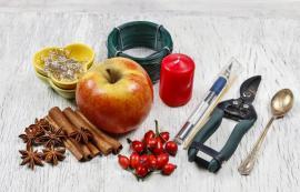 Materiál k výrobě jablečného svícnu