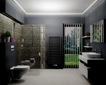 2. Místo / cena: Eva Domenici, AQUASTYL International s.r.o., Kladno, koupelna s designovým radiátorem Zehnder Subway, Anthracite