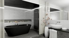 5. Místo / cena: Lucie Kořínková, Flexi s.r.o., Praha, koupelna s designovým radiátorem Zehnder Vitalo Spa, Black Quartz
