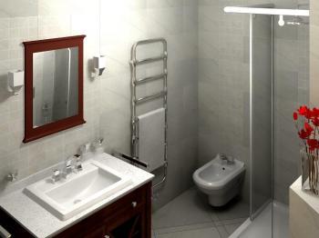7. Místo / cena: Pavel Přibyl, KREINER spol. s r.o., Praha, koupelna s designovým radiátorem Zehnder Nobis, chrom