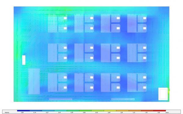 Rychlost proudění vzduchu  - půdorysný řez ve výškách (sedící člověk) – kontury + vektory (CFD Analýza)