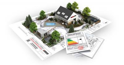 Model rodinného domu osazeného na pozemku
